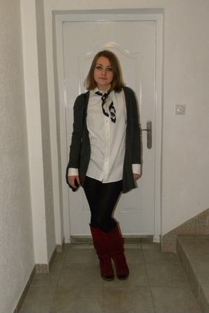 white Zara shirt - red Les Lolitas boots - gray Adriano Goldschmied sweater