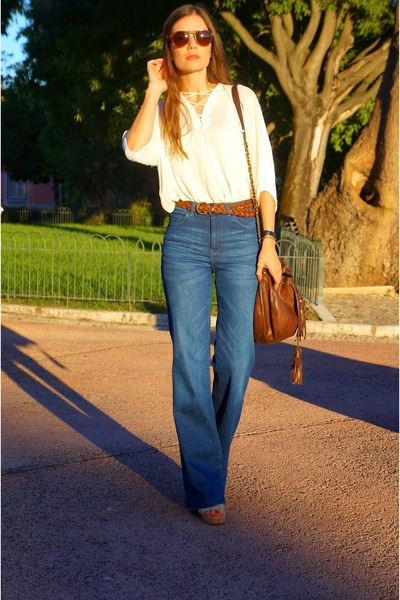 brown Massimo Dutti bag - navy Zara jeans - ivory Zara shirt