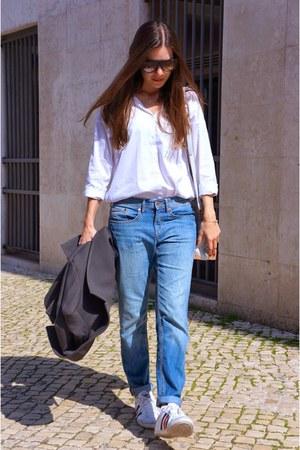 white Zara shirt - gray Bimba & Lola coat - sky blue H&M jeans