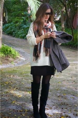 black Zara boots - black bcbg max azria dress - ruby red Zara scarf