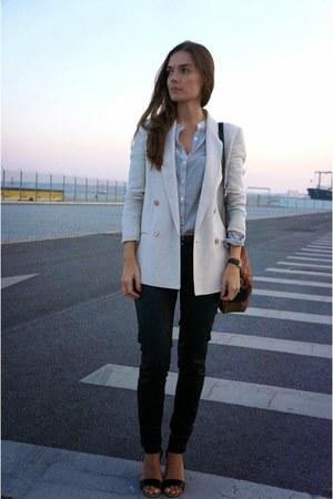 off white Massimo Dutti blazer - beige Mango shirt
