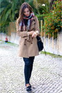 Camel-comptoir-des-cotonniers-coat-maroon-zara-scarf-black-uterque-bag