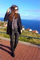 black Zara boots - black isabel marant h&m blazer - black Uterque bag