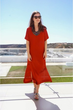 ruby red Zara dress - tan Zara sandals