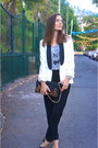 Black-mango-sandals-white-massimo-dutti-blazer-michael-kors-bag