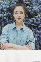 blue shirt - silver earrings