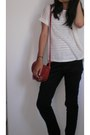 White-top-crimson-liz-claiborne-bag-cream-cream-colored-blouse-black-pants