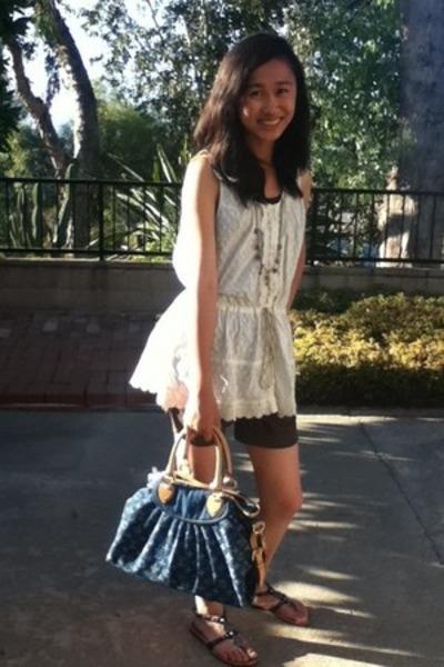 lace top juicy girl blouse - denim print Louis Vuitton bag - boutique shorts