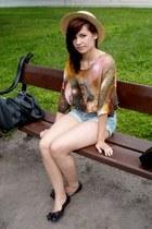 burnt orange t-shirt - camel H&M hat - sky blue shorts - black CCC flats