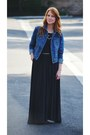 Dark-grey-maxi-dress-denim-jacket