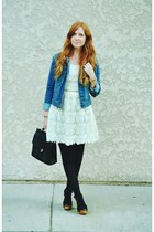 black tights - ivory lace dress - blue denim JCP jacket