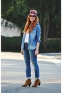 Hot-pink-scarf-tawny-boots-blue-jeans-blue-denim-shirt-white-t-shirt