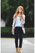 black jeans - bronze boots - floral scarf - periwinkle vintage blouse