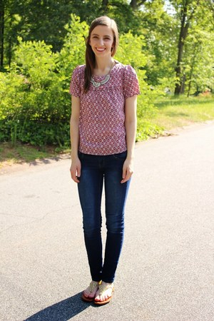 blouse Marshalls shirt - skinny Ross jeans - gladiator TJ Maxx sandals