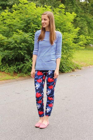 loafers Old Navy shoes - stripes Target shirt - floral print Old Navy pants