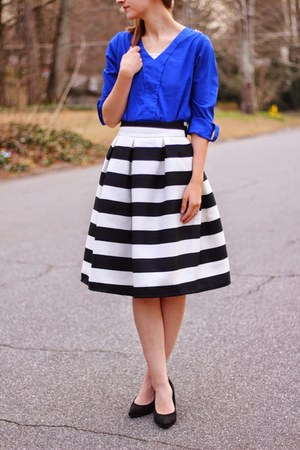cobalt OASAP shirt - heels Old Navy shoes - striped Sheinside skirt