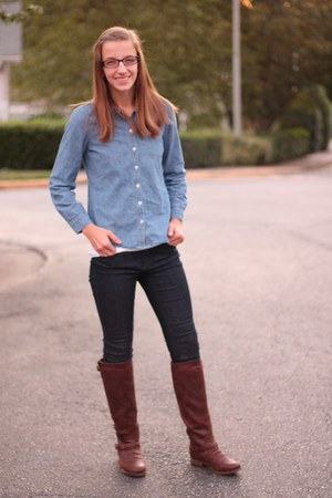 brown JustFab boots - skinny Forever 21 jeans - chambray Old Navy shirt