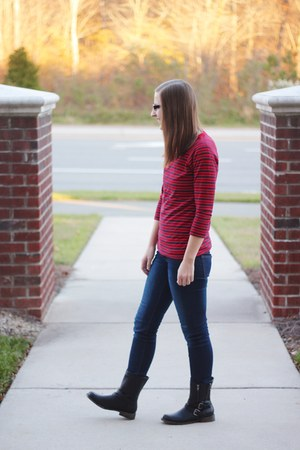 striped Target dress - motorcycle JustFab boots - skinny Ross jeans