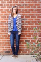 striped ann taylor blazer - sneakers Old Navy shoes - skinny Ross jeans