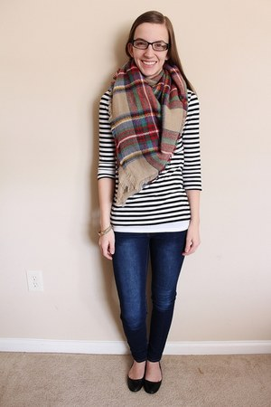 blanket romwe scarf - ballet flats Target shoes - skinny jeans Ross jeans
