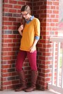 Brown-brown-justfab-boots-mustard-v-neck-merona-sweater