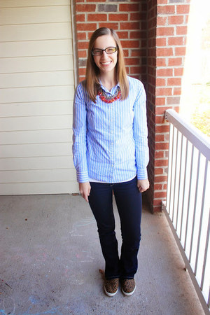 sneakers Old Navy shoes - flare Joes Jeans jeans - button down J Crew shirt