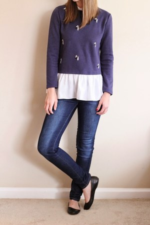 embellished Sheinside sweater - flats Target shoes - skinny Ross jeans