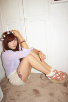 crochet shorts iwearsin shorts - Primark shirt - Topshop socks - wedges