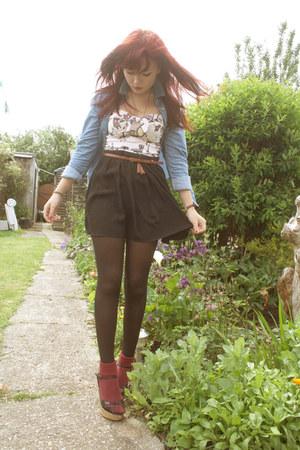 black pleated skirt Topshop skirt - light pink River Island top