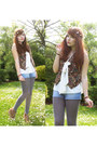 Off-white-topshop-blouse-sky-blue-newlook-shorts-black-vintage-vest