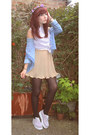 Periwinkle-shirt-camel-pleated-skirt-skirt