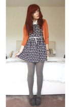 orange orange cardie Primark cardigan - navy cat print dress H&M dress