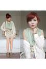 Light-blue-forever-21-blouse-eggshell-cardigan-beige-topshop-skirt