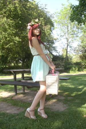 light blue Zara dress - beige picnic basket BHS bag