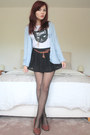 Black-oasap-shorts-sky-blue-cardigan-white-cat-print-tee-topshop-t-shirt