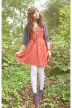 red dress - white white tights tights - navy navy socks Topshop socks