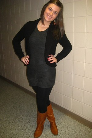 H&M sweater - Forever 21 dress - Express leggings - Bamboo boots - Forever 21 ea