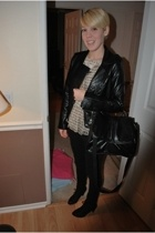 f21 jacket - Development shirt - we who see shoes - H&M purse