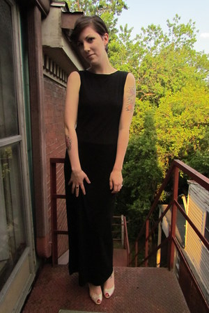 black thrifted DKNY dress - beige Christian Siriano for Payless heels