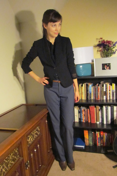 black thrifted Tahari blazer - brown thrifted Eddie Bauer boots