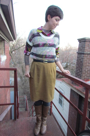 light brown Target boots - off white Old Navy sweater - navy vintage belt