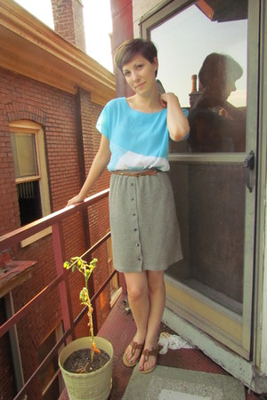light blue vintage blouse - light brown vintage belt