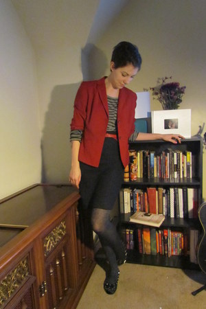 brick red thrifted Ann Taylor Loft blazer - charcoal gray Target tights