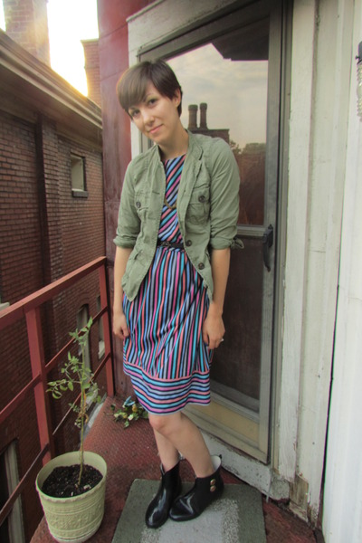 blue vintage dress - black Target boots - olive green banana republic jacket