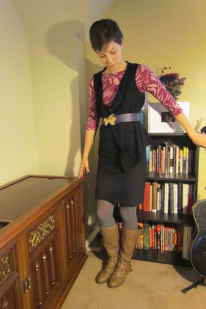 purple thrifted belt - light brown Target boots - black thrfited sweater