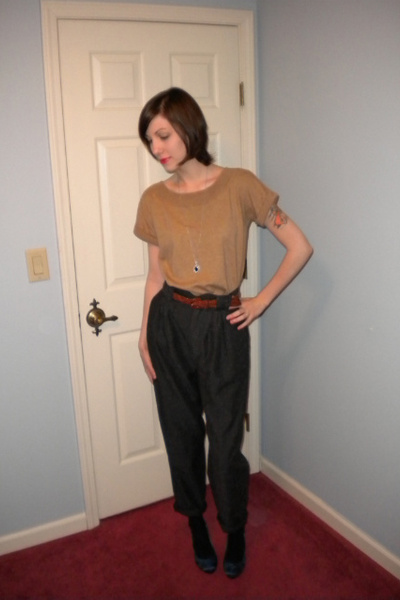 brown banana republic sweater - black vintage pants - blue Christian Siriano sho
