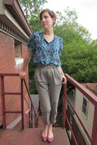 tan vintage pants - blue Joie blouse - pink sam edelman flats