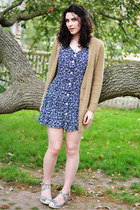 navy handmade dress - camel Urban Outfitters cardigan