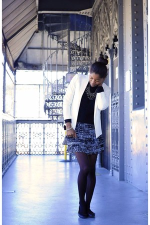 H&M skirt - sweater - white Mango blazer - black H&M flats