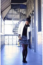 H&M skirt - sweater - white Mango blazer - black H&M flats
